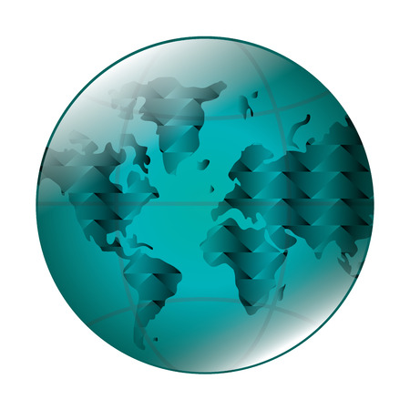 meridians: flat design earth globe with latitudes and meridians icon vector illustration