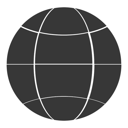 parallel world: flat design earth glove with latitudes and meridians icon vector illustration