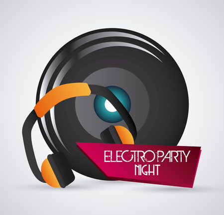 electro: Electro party and music concept  represented by headphone and speaker icon. Colorfull and grey background.