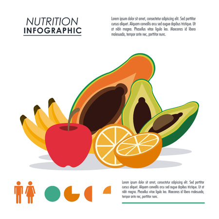 Nutrition and Healthy food concept represented by Infographic and fruits icon. Colorfull and flat illustration.