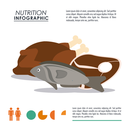 Nutrition and Healthy food concept represented by Infographic and protein icon. Colorfull and flat illustration.