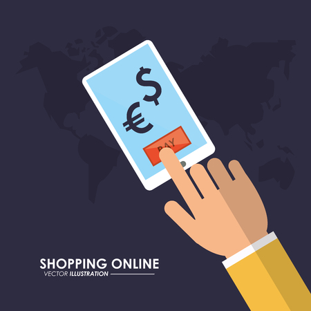 Shopping online concept represented by smartphone and map icon. Colorfull and flat illustration. Ilustração