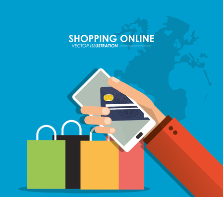 shopping bag icon: Shopping online concept represented by smartphone, credit card and shopping bag icon. Colorfull and flat illustration. Illustration