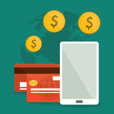 Shopping online concept represented by smartphone, credit card and coins icon. Colorfull and flat illustration.