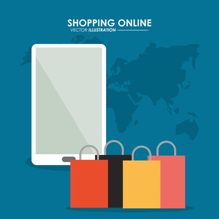 shopping bag icon: Shopping online concept represented by smartphone, earth and shopping bag icon. Colorfull and flat illustration.