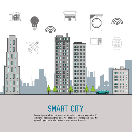 city icon: Technology and Internet concept represented by smart city and  icon set. Isolated and flat illustration.