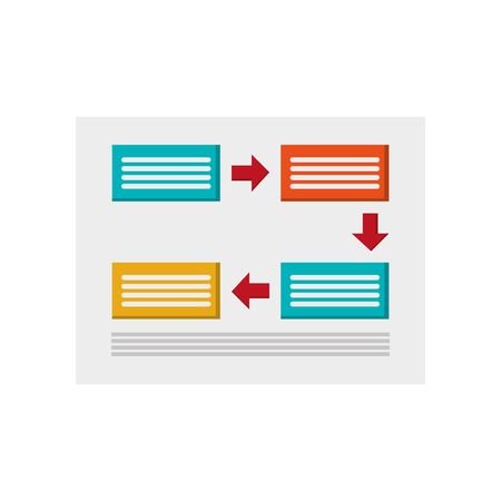 connection block: flat design rectangles and arrows diagram icon vector illustration