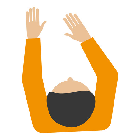 flat design man sitting topview icon vector illustration