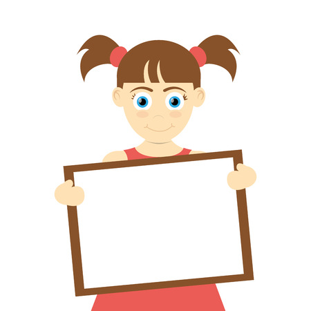 pigtails: flat design happy girl with pigtails holding board icon vector illustration