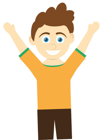 arms open: flat design happy boy with arms open icon vector illustration