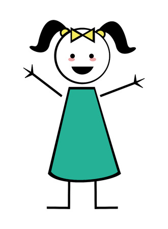 pigtails: flat design happy girl with pigtails icon vector illustration stick figure Illustration