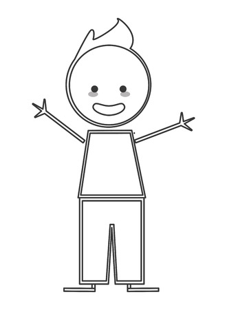 arms open: flat design happy boy with arms open icon vector illustration stick figure