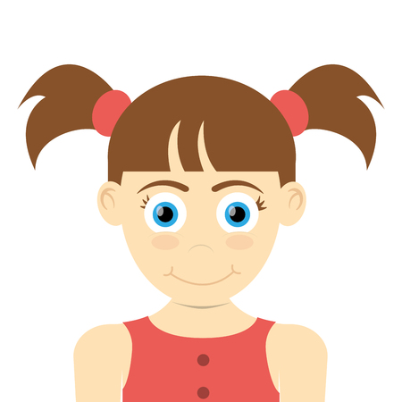 pigtails: flat design happy girl with pigtails icon vector illustration Illustration