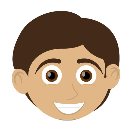 tan: flat design happy boy with tan skin icon vector illustration Illustration