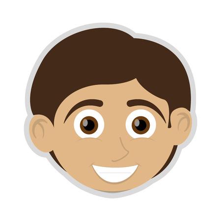 smiling child: flat design happy boy with tan skin icon vector illustration Illustration