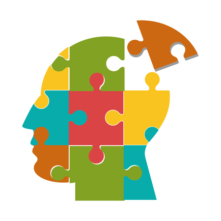 flat design human head in puzzle pieces icon vector illustration