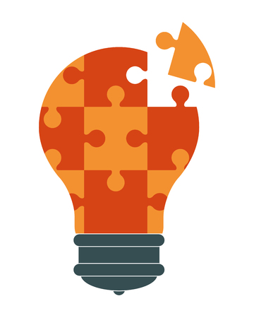 flat design lightbulb in puzzle pieces icon vector illustration