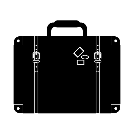 flat design suitcase with handle and stickers icon vector illustration Vectores