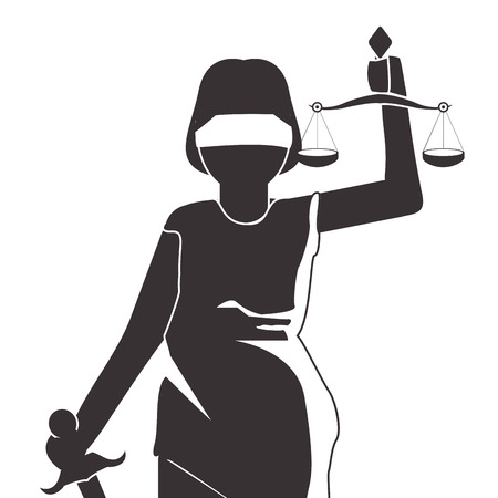 flat design lady justice icon vector illustration 向量圖像