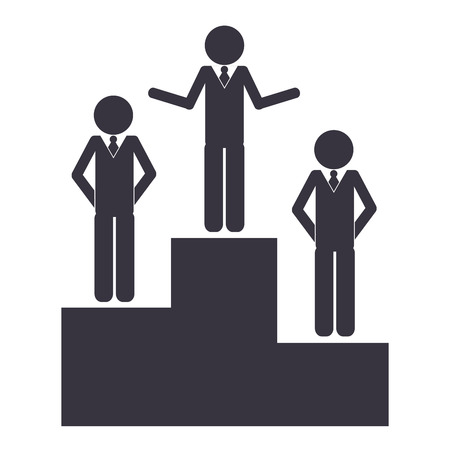 flat design businessmen on podium icon vector illustration