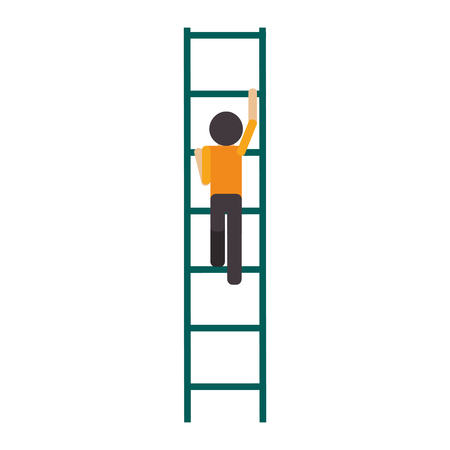 flat design man climbing ladder icon vector illustration