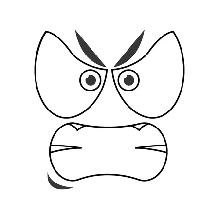 flat design angry emoticon face icons vector illustration Illusztráció