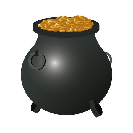 flat design lucky pot o gold icon vector illustration