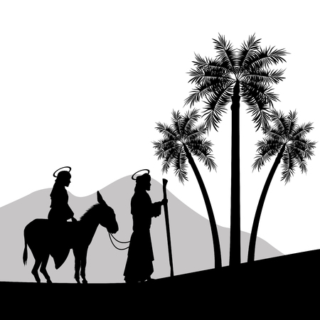 Merry Christmas and holy family concept represented by joseph, maria and donkey icon. Silhouette and flat illustration. Illustration