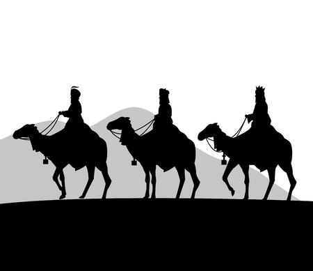 Merry Christmas and holy family concept represented by three wise men on camels icon. Silhouette and flat illustration. 일러스트