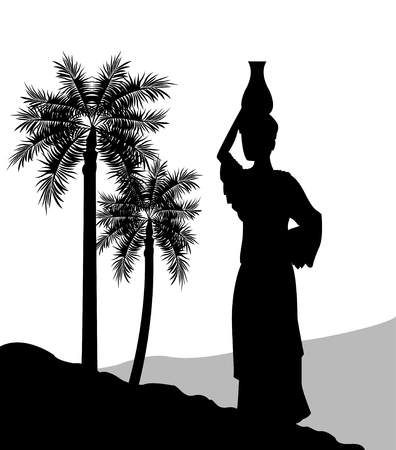 calm woman: Desert concept represented by the woman with vessel icon. Silhouette and flat illustration. Illustration