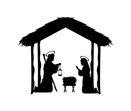 conception: Merry Christmas and holy family concept represented by joseph, maria and jesus icon. Silhouette and flat illustration.