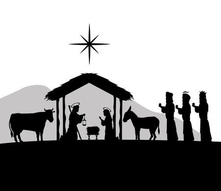 sacra famiglia: Buon Natale e il concetto di famiglia santa rappresentato da Giuseppe, Maria e l'icona jesus. Silhouette e illustrazione piatta. Vettoriali