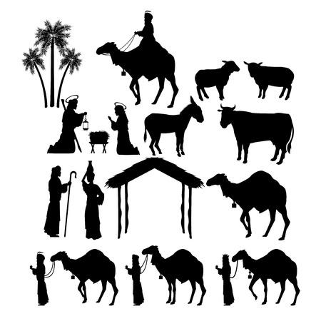 sacra famiglia: Buon Natale e il concetto di famiglia santa rappresentato da figure set di icone. Silhouette e illustrazione piatta.