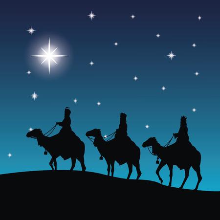wise men: Feliz Navidad y concepto de familia santa representado por tres hombres sabios en icono de camellos. Silueta y la ilustración plana.