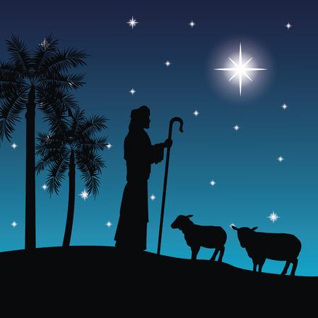 메리 크리스마스와 목자와 그의 양의 아이콘으로 표시 거룩한 가족 개념. 실루엣과 평면 그림입니다.