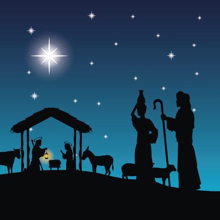 Buon Natale e il concetto di famiglia santa rappresentato da Giuseppe, Maria e l'icona jesus. Silhouette e illustrazione piatta.
