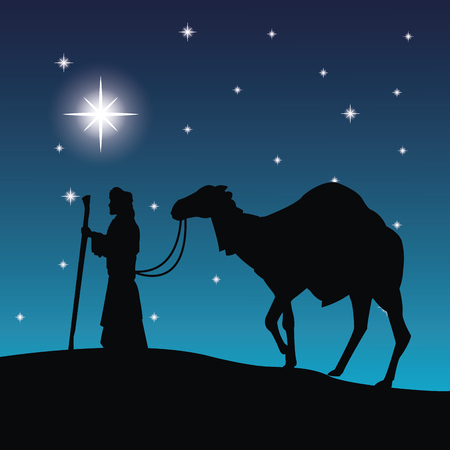 holy family: Merry Christmas and holy family concept represented by wise man and camel icon. Silhouette and flat illustration.