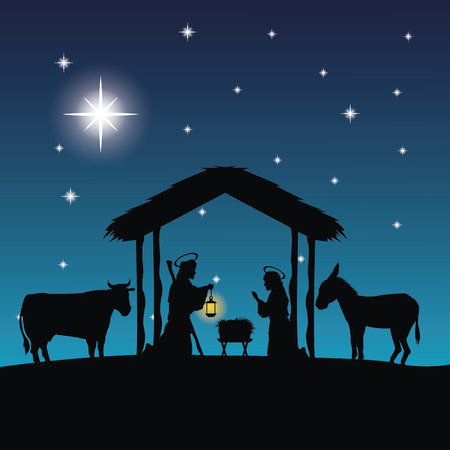 maria: Merry Christmas and holy family concept represented by joseph, maria and jesus icon. Silhouette and flat illustration.