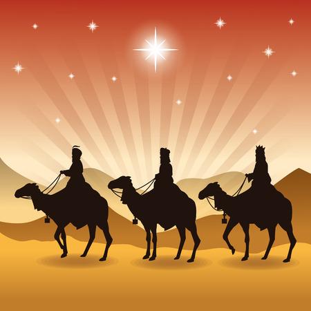 reyes magos: Feliz Navidad y concepto de familia santa representado por tres hombres sabios en icono de camellos. Silueta y la ilustración plana.