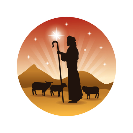 sheeps: Merry Christmas and holy family concept represented by the shepherd and his sheeps icon. Silhouette and flat illustration. Illustration