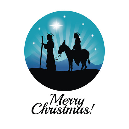 maria: Merry Christmas and holy family concept represented by joseph, maria and donkey icon. Silhouette and flat illustration. Illustration