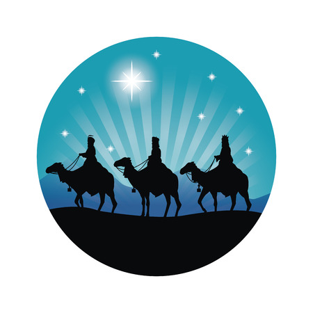 Merry Christmas and holy family concept represented by three wise men on camels icon. Silhouette and flat illustration. 矢量图像