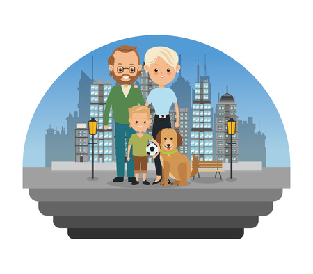 Family cartoon concept represented by parents with son and dog icon over city landscape.  Colorfull illustration