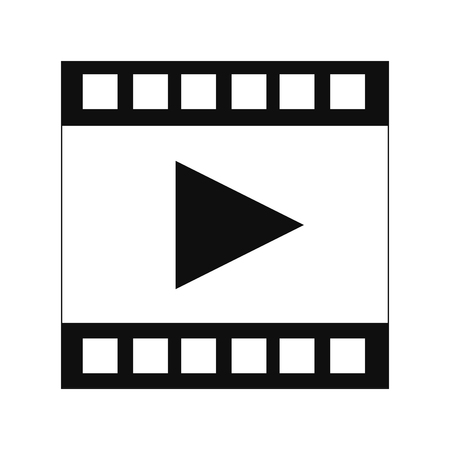 square tape: flat design film strip with play icon vector illustration