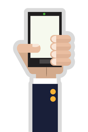 cellphone in hand: flat design hand holding cellphone icon vector illustration