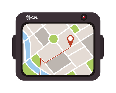 gps device: flat design gps device icon vector illustration