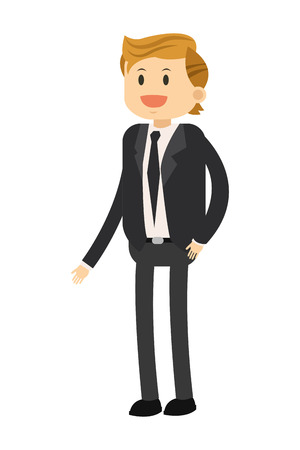 broadly: flat design happy businessman icon vector illustration