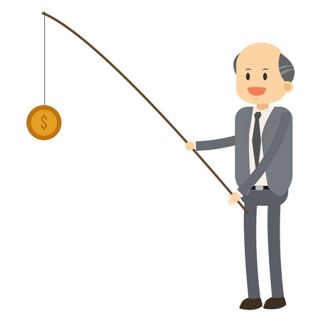 broadly: flat design happy businessman fishing coin icon vector illustration Illustration