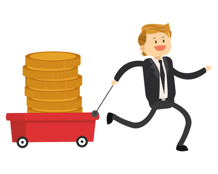 broadly: flat design happy businessman pulling wagon with coins icon vector illustration Illustration