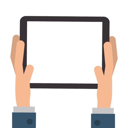 palmtop: flat design hands holding tablet icon vector illustration
